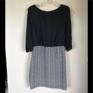 Black and white split sleeve dress